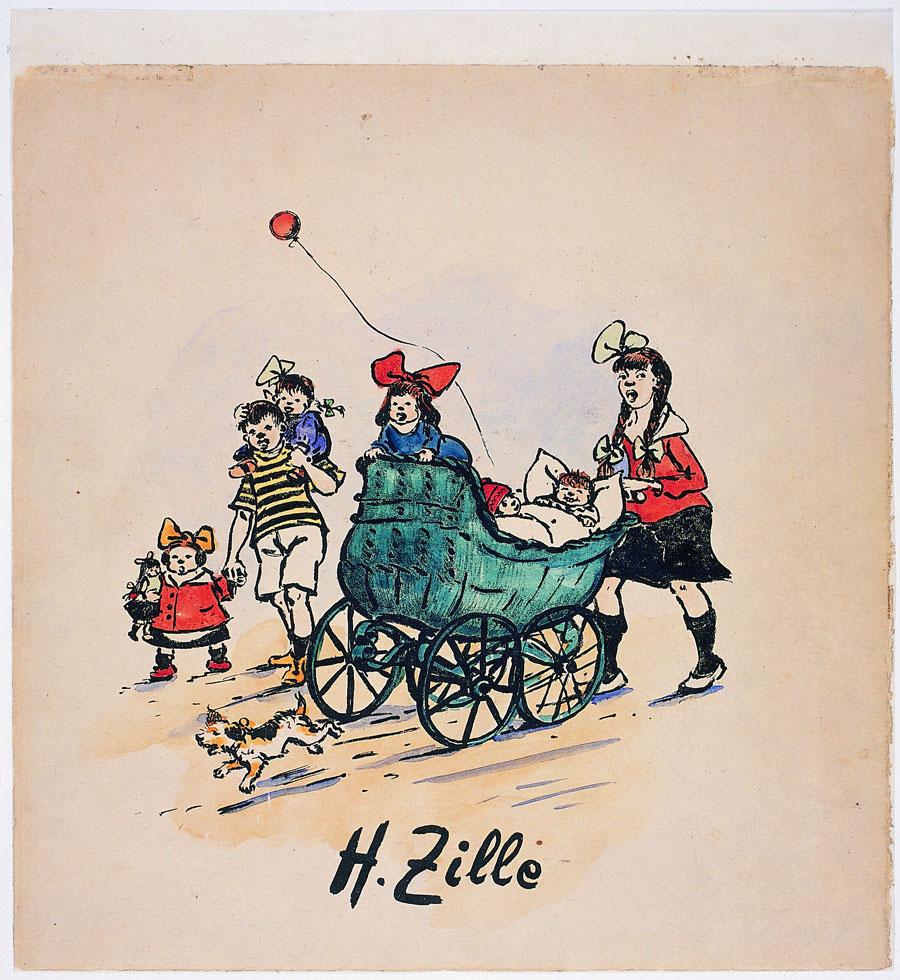 Heinrich Zille, Singende Kinder mit Kinderwagen, 1. Blatt des Zyklus Komm Karlineken, komm!, 1924, Lithografie, aquarelliert, Kunstmuseum Mülheim an der Ruhr, Sammlung Themel